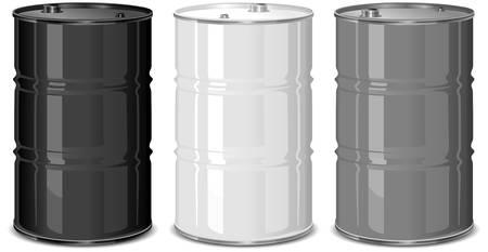 Drie metalen vaten op witte achtergrond, vector illustratie