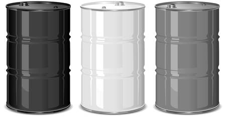 toxic barrels: Tres barriles de metales sobre fondo blanco, ilustraci�n vectorial