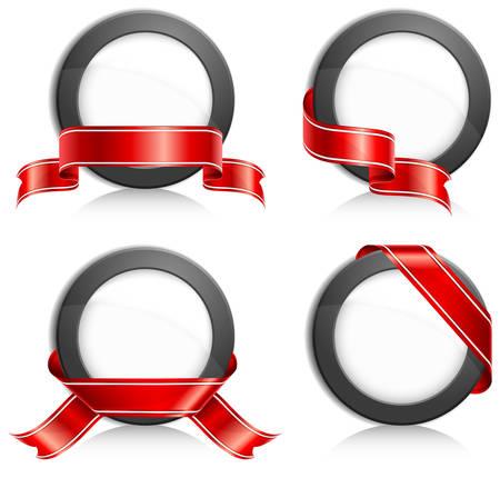 ruban noir: Cercle noir avec ruban rouge sur fond blanc, illustration vectorielle
