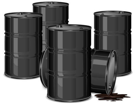 toxic substance: Metal barrels with oil on white background