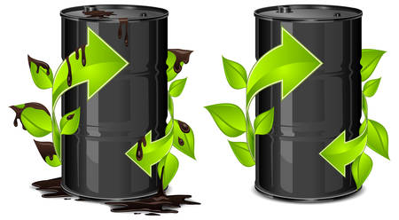 poison arrow: Metal oil barrels with green arrow on white background, environment concept