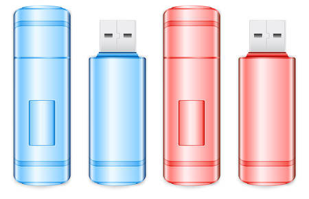 Color usb flash drive, illustration isolated on white background Vector