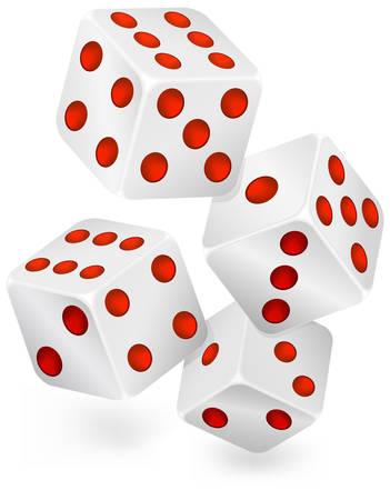 dribbling: Four dices for dribbling, casino gambling
