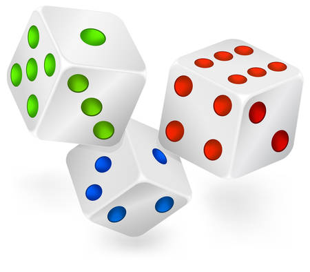 dribbling: Three dices for dribbling, casino gambling Illustration