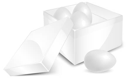 intacto: White eggs in box isolated on background, vector illustration