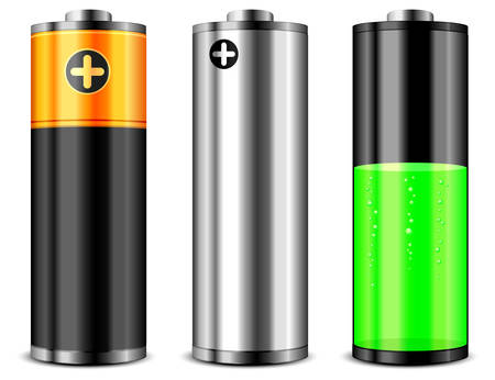battery acid: Batteries with different charge levels on white background
