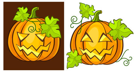 malicious: Malicious & kind grimace pumpkin, Halloween vector illustration