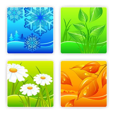 Landscape of different seasons summer, winter, spring, autumn, weather illustration Stock Vector - 7749541