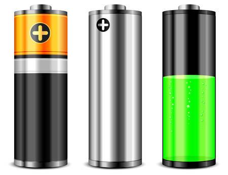 pilas: Bater�as con niveles de carga diferente sobre fondo blanco, ilustraci�n vectorial