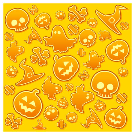 Halloween background with skull, pumpkin, bone, hat and ghost in yellow, vector illustratiom Vector