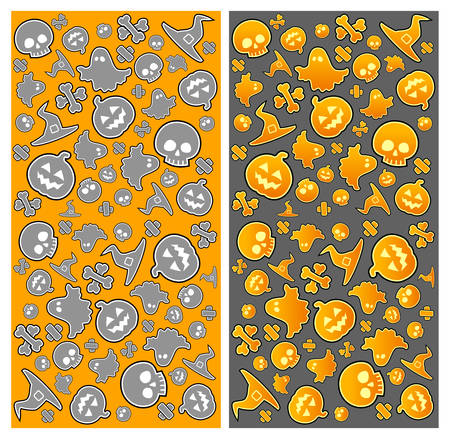 drakula: Halloween pattern with skull, pumpkin, bone, hat and ghost in yellow, vector illustratiom