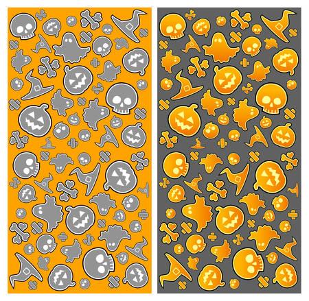 drakula: Halloween pattern with skull, pumpkin, bone, hat and ghost in yellow, vector illustratiom