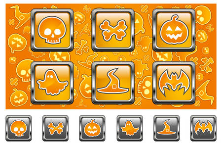 drakula: Halloween icons with skull, pumpkin, bone, hat, bat and ghost in yellow, vector illustratiom Illustration