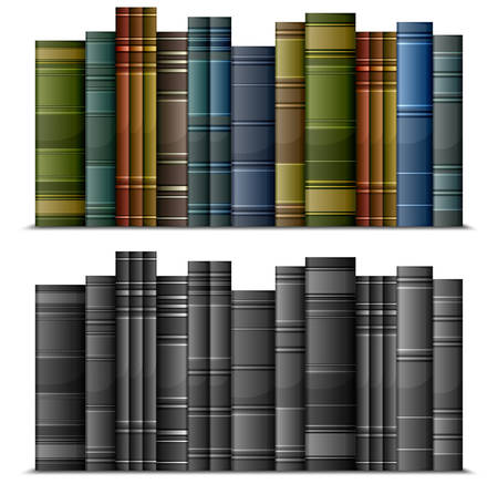 bibliomania: Row of old vintage books isolated on white, vector illustration