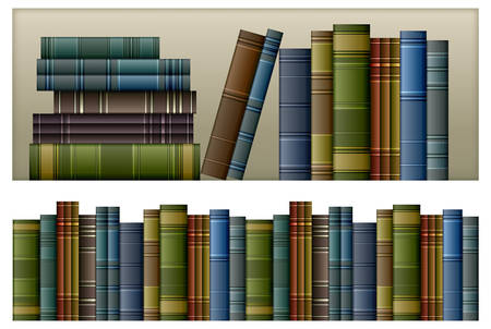 shelf with books: Old vintage books isolated on white, vector illustration