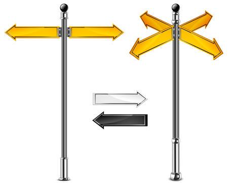 ignorancia: Signo de la carretera con diferentes direcciones de flechas amarillas, ilustraci�n vectorial