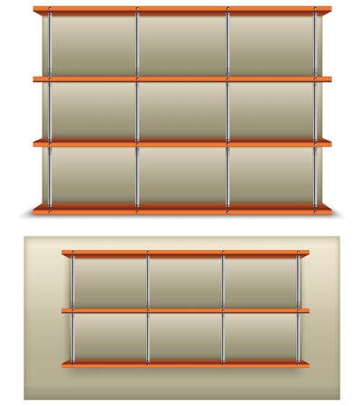 metalic: Empty wooden and metalic bookshelf, modern vector illustration.  Illustration