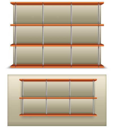 wooden furniture: Empty wooden and metalic bookshelf, modern vector illustration.  Illustration