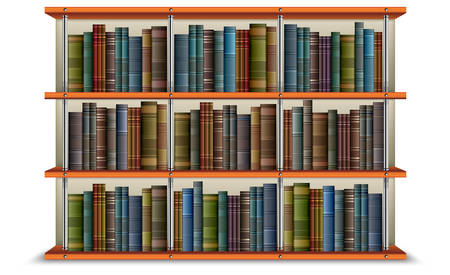 shelf with books: wooden bookshelf with vintage old books and frame, vector illustration.