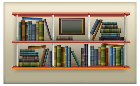 �tag�re bois: �tag�re en bois avec des rang�es de livres anciens vintage, illustration vectorielle.