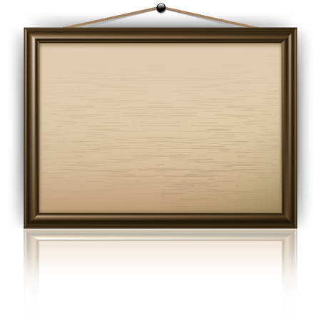 Empty office wooden notice board isolated on white, vector illustration