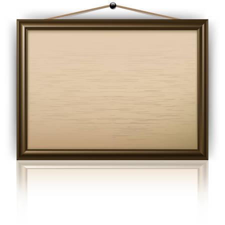Ufficio vuoto in legno notice board isolata on white, illustrazione vettoriale