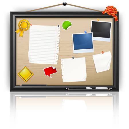 Office notice board with blank paper, pins and post-it isolated on white, vector illustration Stock Vector - 7840803