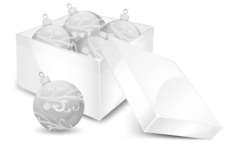 glistering: Gift box with christmas balls in white, illustration