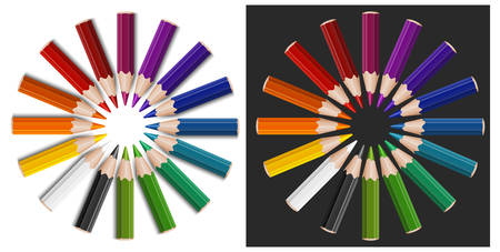 Little colour pencils in circle, isolated, illustration Vector