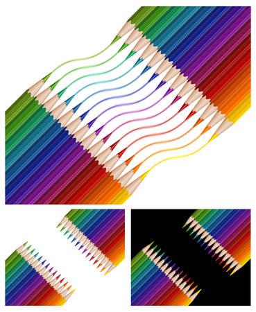 Colored pencils drawing rainbow on white background, illustration Vector