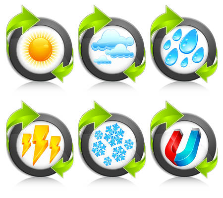 Weather round icons with green arrow, forecast emblems on white, vector illustration  Vector