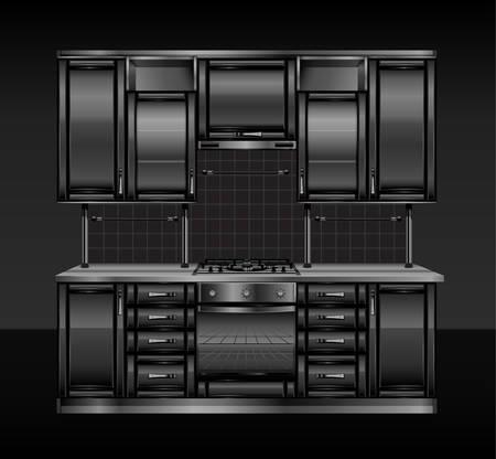modern kitchen interior: Modern kitchen interior in black color, vector illustration