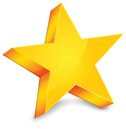 Big gold star on white background, vector illustration  Иллюстрация