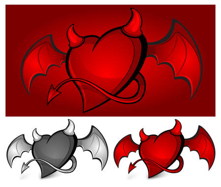 Devil red heart with horns, tail and wings Vector
