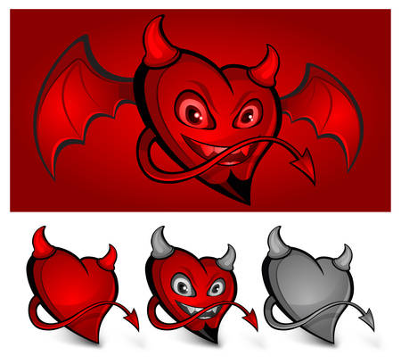 Red devil face heart with horns, tail and wings Vector