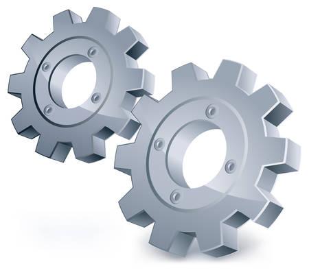 engrenages, objet isolé sur fond blanc, illustration technique, mécanique