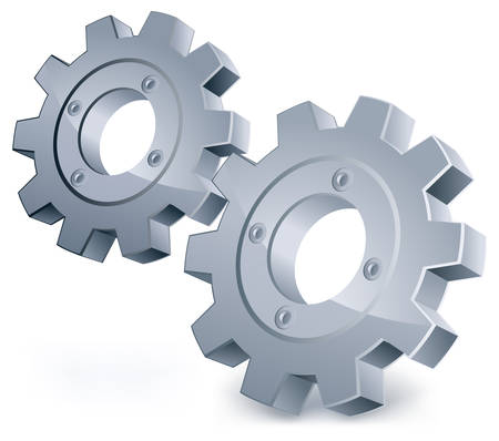 industry communication: gears, isolated object on white background, technical, mechanical illustration