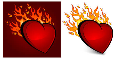 Red heart on fire, vector illustration for Valentines Day Stock Vector - 8446156
