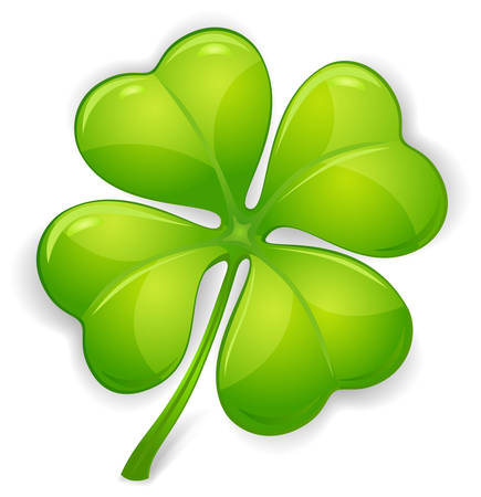 four objects: Four leaf clover isolated on white, vector illustration for St. Patricks day