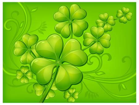 irland�s: Fondo de tr�bol en verde, ilustraci�n vectorial para el d�a de San Patricio de  Vectores