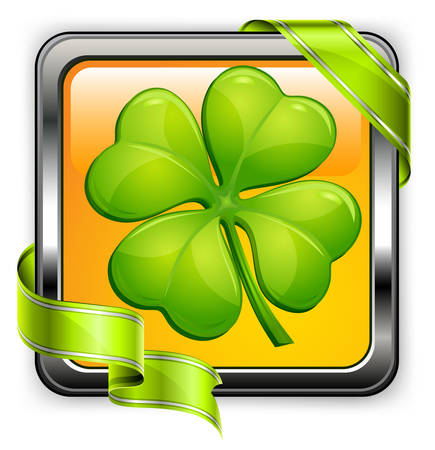 clover buttons: Square clover button with green ribbon on white, vector illustration for St. Patricks day