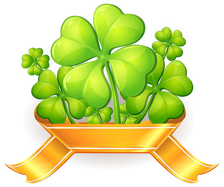 Four leaf clovers with ribbon on white, vector illustration for St. Patricks day  Illustration
