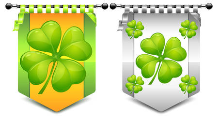 Heraldic coats with four clover symbol, vector illustration for St. Patrick's day Stock Vector - 8545447