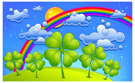 patrick: Clovers under rainbow, cartoon landscape, vector illustration for St. Patricks day