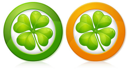 Four leaf clover in round isolated on white, vector illustration for St. Patricks day