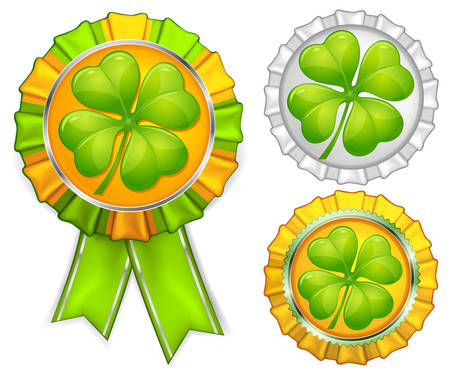 four objects: Award ribbons with clover on white, vector illustration for St. Patricks day