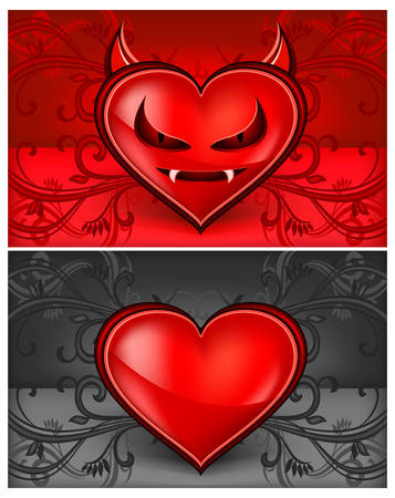 Red devil face heart with horns and teethes  Vector