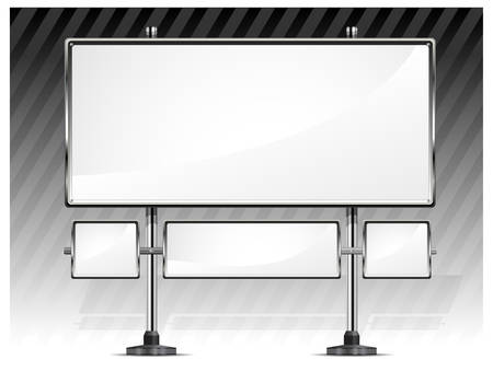 advertising construction: View of blank highway billboard for advertising, construction