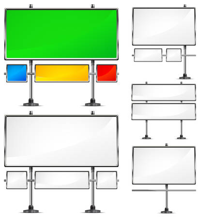 advertising construction: View of color blank highway billboards for advertising, construction  Illustration