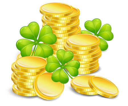 four objects: Golden coins with four leaf clover